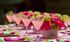 Ideas: Ambientación en Rosa, Fucsia y Verde Lima Party Color Schemes: Pink, Fucsia and Lime Green