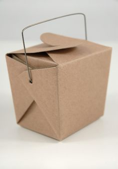 A simple kraft paper take out box can be used for a multitude of wedding favor options.