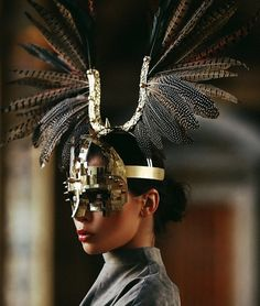 Feather Horn Headdress and Gold Mask, Feather Crown, Feather Headpiece