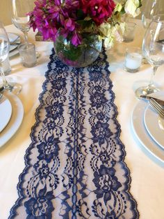 """18ft Navy Blue Lace Table Runner, 8in Wide x 216"""" Long, Vintage Wedding Decor, Lace Overlay, Navy Weddings by LovelyLaceDesigns on Etsy"""