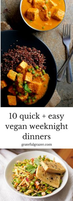 Healthy plant-based meals don't have to be complicated. Try one of these delicious quick and healthy plant-based dinners tonight! via @gratefulgrazer