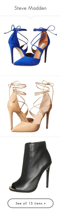 """""""Steve Madden"""" by katiasitems on Polyvore featuring shoes, pumps, heels, chaussure, ankle strap pumps, ankle wrap pumps, steve madden pumps, pointy toe ankle strap pumps, ankle strap high heel pumps and high heels"""