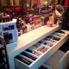 Great for makeup storage. Gonna have to see if we can make this work.