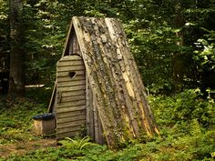 Photo about Wooden toilet with opened door in the forest. Image of restroom, door, outhouse - 20770338 Glamping, Outhouse Bathroom, Outdoor Toilet, Outdoor Bathrooms, Composting Toilet, Cottage, Small Buildings, Bude, Woodland