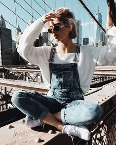 denim overalls / style / fashion / casual outfit ideas