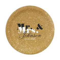 Gold glitter Mr and Mrs wedding paper plates