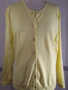 Lands' End Cardigan Sweater Size L 14-16 Yellow Cotton blend button up Long slev #LandsEnd #Cardigan