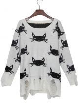 White Black Cat Print Shredded Distressed Sweater $39