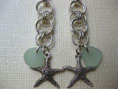 Celtic Knot Starfish Seaglass Earrings. $23.00, via Etsy.