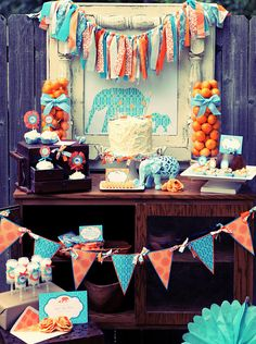 Little Peanut baby shower for boy- lovely details. Especially like the color scheme, fabric bunting and initial wreath. Great stuff!
