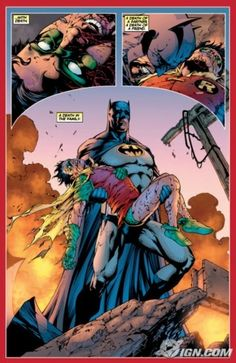 A Death in the Family - Batman and Robin (Jason Todd) one of the saddest moments in comics. R.I.P. Jason Todd.