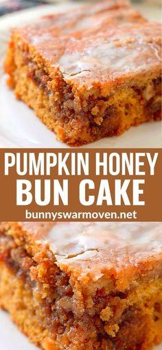 Honey Bun Cake, Honey Buns, Fall Recipes, Sweet Recipes, Holiday Recipes, Easy Pumpkin Recipes, Fall Dessert Recipes, Boxed Cake Recipes, Apple Baking Recipes