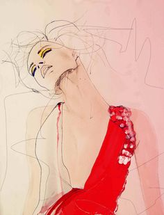 Fashion Illustration - by Leigh Viner - monstylepin #fashion #illustration #sketch #beauty #painted #dress #floral