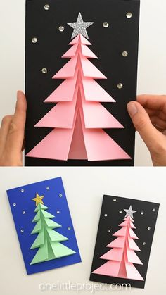 3d Christmas Tree Card, Christmas Crafts For Kids To Make, Homemade Christmas Cards, Christmas Crafts For Gifts, Christmas Diy, Thanksgiving Crafts, Diy Christmas Cards Pop Up, Christmas Cards Handmade Kids, Free Printable Christmas Cards