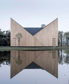 Nanjing Wanjing Garden Chapel / AZL Architects Completed in 2014 in Nanjing China. Images by Yao Li. The project - a 200 square meter small chapel is located in Wanjing Garden along Nanjings Riverfront. Hosted by priests from Nanjing Union. Sacred Architecture, Religious Architecture, Church Architecture, Beautiful Architecture, Contemporary Architecture, Interior Architecture, China Architecture, Interior Design, Room Interior