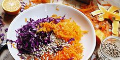 River Cottage Squash, Cabbage + Carrot Slaw - I Quit Sugar Wheat Free Recipes, Sugar Free Recipes, Vegetarian Cooking, Healthy Cooking, Healthy Eating, Clean Eating, Health Benefits Of Carrots, Real Food Recipes, Cooking Recipes