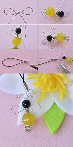 Wire and beads bee ornament, need it? LC.Pandahall.com will publish the tutorial soon. #pandahall | Jewelry Pendants & Charms | Pinterest by Jersica
