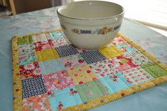 Sweet Postage Stamp Patchwork Table Mat Runner by swingkitten, $26.00