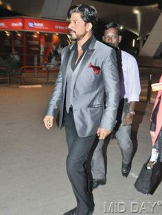 Shah Rukh Khan at Mumbai airport on his arrival from New Delhi. #Fashion #Style #Handsome #Bollywood