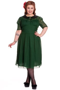 Hell Bunny Plus 40s 50s Vintage Cynthia Polka Dot Chiffon Dress
