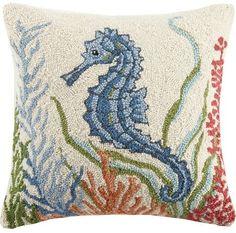 Home Decoration Ideas Hand Made Ocean Floor Seahorse Hook Pillow Coastal Style, Coastal Decor, Coastal Cottage, Seahorse Art, Seahorses, Rug Hooking Designs, Nautical Home, Beach House Decor, Drawing