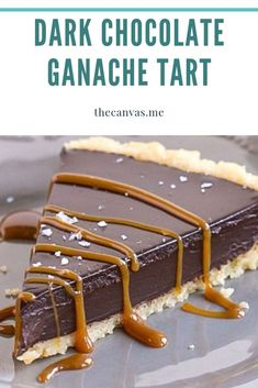 Dark Chocolate Ganache Tart Eggless Desserts, Desserts To Make, Delicious Desserts, Yummy Food, Chocolate Ganache Tart, No Bake Bars, Sweet Tarts, Pie Dessert, How Sweet Eats