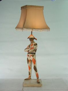 Vintage 1940s Plaster Harlequin Lamp with Glass Beaded Shade