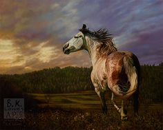 Horse painting by Bruce K. Lawes