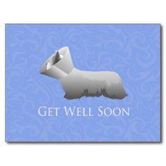 Skye Terrier Get Well Soon Design Postcard