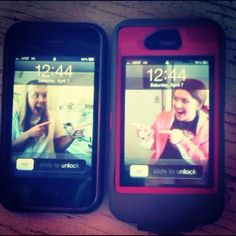 We soooo need to do this. Lol. Or the one where they r pushed up against glass so it's like ur stuck in my phone.