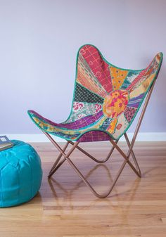 Relaxed and Ravishing Butterfly Chair by Karma Living - Multi, Print, Quilted, Boho, Dorm Decor, Best, Vintage Inspired, 60s, 70s