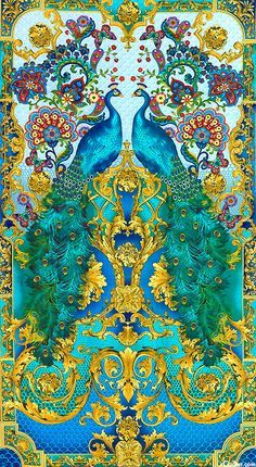 Indian peacock stencils | Hyde Park Opulent Peacock Floral Turquoise Panel