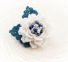Crochet Brooch Beaded Brooch Crochet Flower by CraftsbySigita