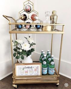 "Check out our web site for more information on ""gold bar cart decor"". It is actually an outstanding area to learn more. Home Bar Decor, Bar Cart Decor, Ikea Bar Cart, Diy Bar Cart, Mini Bar At Home, Bars For Home, Gold Bar Cart, Bar Cart Styling, Home Bar Designs"