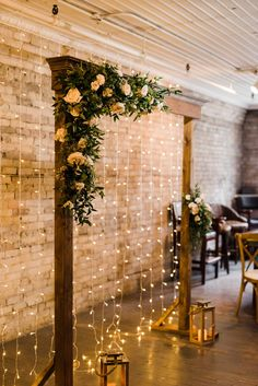 Adam + Ashleigh had a cozy elegant wedding at The Lodge on Queen - this Queen West wedding in downtown Toronto was full of personality. Desi Wedding Decor, Wedding Stage Decorations, Backdrop Decorations, Fall Wedding, Wedding Ceremony, Backdrops, Dream Wedding, Backdrop Lights, Indoor Ceremony