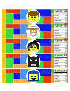 Printable LEGO Water Bottle Labels/ LEGO MOVIE Characters