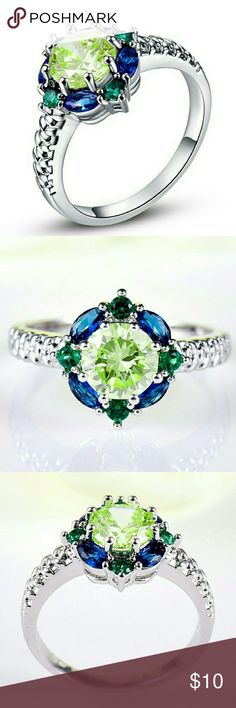 Ring green amethyst, blue sapphire, emeralds. Metal: 14K White Gold Plated ; Main Stone: AAA Green Amethyst Blue Sapphire Emerald ; Main Color: Green Blue ; Main Stone Size: 6*6 mm Jewelry Rings