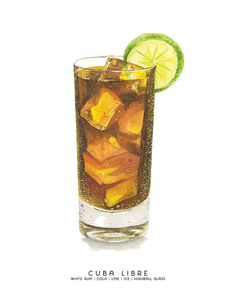 Cuba Libre MidCentury Cocktail Watercolor Print (Rum & Coke) Cuba Libre MidCentury Cocktail Watercolor Print by cheryloz Watercolor Food, Watercolor Print, Watercolor Cards, Drink Bar, Rum, Cocktail Names, Cocktail Ingredients, Food Painting, Bar Art