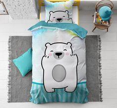 Blauw kinderdekbedovertrek met print van een lieve knuffelbeer. Dit katoenen dekbedovertrek staat garant voor een zeer fijne nachtrust! Linen Bedding, Bed Linen, How To Make Bed, Cubs, Cuddling, Duvet Covers, Pillow Cases, Snoopy, Beer