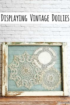 Shabby chic wall decoration with lace doilies - UPCYCLING I .- Shabby Chic Wanddekoration mit Spitzendeckchen – UPCYCLING IDEEN Shabby chic wall decoration with lace doilies, - Shabby Chic Wall Art, Shabby Chic Vintage, Vintage Farmhouse Decor, Shabby Chic Bedrooms, Shabby Chic Homes, Shabby Chic Decor, Vintage Decor, Shabby Chic Farmhouse, Shabby Chic Style