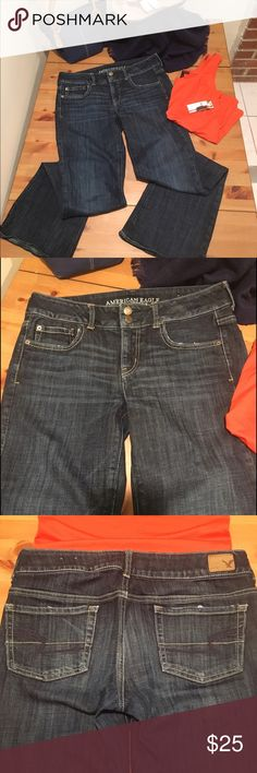 """AEO American Eagle Artist Stretch jeans Sought after AEO artist stretch jeans are the most comfortable American Eagle jeans made! These have a dark wash for a slimming effect. Have long legs or like to wear heels? These will be perfect for you as they have a 32.5"""" inseam. Waist measures 16.5"""" (laid flat). Rise 8.5"""". In excellent used condition and in a smoke free home. Bundle for additional savings! American Eagle Outfitters Jeans Boot Cut"""