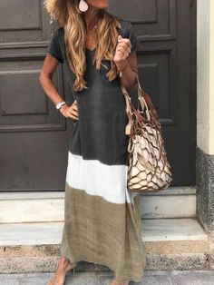 Short Sleeve V-Neck Patchwork Casual Straight Dress – Buyluludress Maxi Dress With Sleeves, V Neck Dress, The Dress, Short Sleeve Dresses, Sleeved Dress, Long Sleeve, Dress Tops, Short Sleeves, Collar Dress