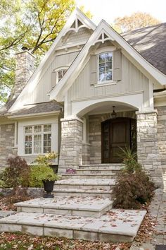 Awesome 48 Outstanding Cottage House Exterior Design Ideas To Try Asap Cottage Exterior, Exterior House Colors, Exterior Design, Stone Exterior Houses, Exterior Paint Colors For House With Stone, Craftsman Exterior Colors, Stucco Colors, Exterior Stairs, Siding Colors