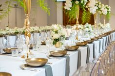 Stunning long tables by Dann Event Hire in the Isabella Fraser Room at the State Library Victoria by Showtime Event Group