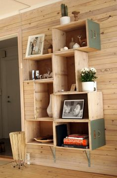 #DIY #Bookcase Made Of Old #Drawers I made a firm decision to utilize trends of #upcycle and #reuse materials to stay true to my #green #roots --New Apartment will be filled with these types of projects 4 me & the #Tween & #Toddler #DesignbyJ9  via Shelterness