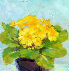 "Daily Paintworks - ""Yellow Primrose,still life,oil on canvas,6x6,price$200"" - Original Fine Art for Sale - © Joy Olney"