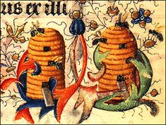 Bees and Beehives, from The Hours of Catherine of Cleves,  c.1440.   Utrecht, Netherlands, detail.