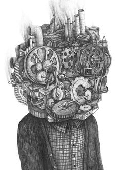 This drawing is what my head feels like. Except rusty and squeaky. Drawings 2013 part 2 by Stefan Zsaitsits