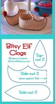 Sweet little elf shoes! all star para american girl dolls Baby shoes but also a nice breakdown of pointy clogs felt clog for St Nicholas day at catechism class? Image: Lovely Shoe For This Summer Outfit. Xmas Crafts, Felt Crafts, Doll Shoe Patterns, Baby Shoes Pattern, Elf Shoes, Clogs Shoes, Christmas Gnome, Christmas Costumes, Waldorf Dolls