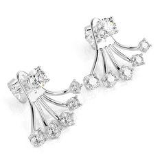 Diamond Fan Earrings, Vintage Earrings,  Unique #diamondearrings #14kwhitegold #roundcutdiamonds #pushbackearrings #bridalearrings #weddingearrings #fineearrings #genuinediamonds #naturaldiamonds #engagementearrings #bridesmaidearrings #daintyearrings #fanearrings